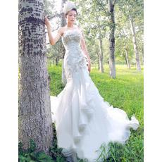Mermaid Court Train Strapless Satin Dresses for Spring Wedding
