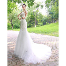 Custom Mermaid Sweetheart Court Train Organza Wedding Dresses