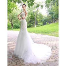 Custom Mermaid Sweetheart Court Train Organza Wedding Dresses