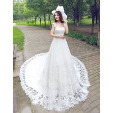 Affordable Elegan Lace Chapel Train Straps A-Line Wedding Dresses