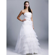 Elegant Vintage A-Line Strapless Sweep Train Organza Wedding Dresses