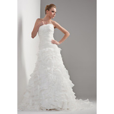 Tiered A-Line Strapless Sweep Train Dresses for Spring Wedding