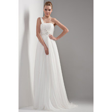 Custom One Shoulder Chiffon Sweep Train Empire Wedding Dresses