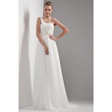 Custom One Shoulder Chiffon Sweep Train Empire Wedding Dresses