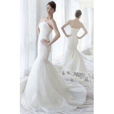 Affordable Mermaid/ Trumpet Strapless Sweep Train Wedding Dresses