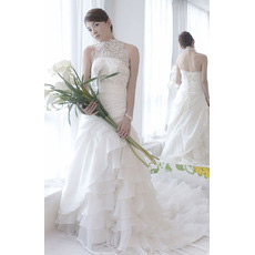Sexy Classic Halter A-Line Court Train Satin Tiered Wedding Dresses