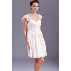 Discount Chiffon Cap Sleeves Sweetheart Short Beach Wedding Dresses