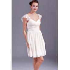 Discount Chiffon Cap Sleeves Sweetheart Short Beach Wedding Dresses