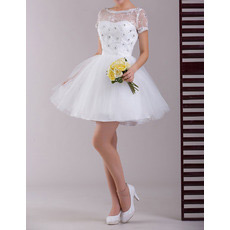 Custom Short Sleeves Organza A-Line Short Reception Wedding Dresses