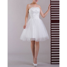 Inexpensive A-Line Strapless Satin Short Beach Wedding Dresses