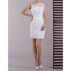 Sexy Informal Lace Column/ Sheath Short Beach Wedding Dresses