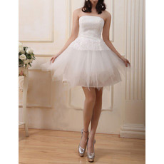 Custom A-Line Strapless Satin Organza Short Reception Wedding Dresses