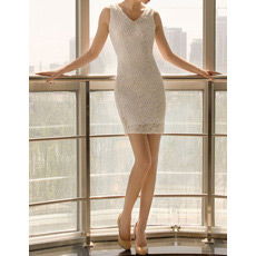 Affordable Sheath/ Column Lace V-Neck Short Beach Wedding Dresses