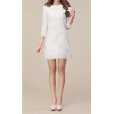 Elegant Long Sleeves Lace Sheath/ Column Short Beach Wedding Dresses