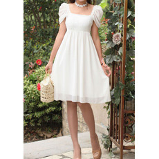 Cap Sleeves Chiffon Empire Short Dresses for Summer Beach Wedding