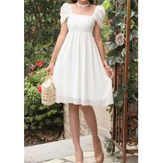 Cap Sleeves Chiffon Empire Short Dresses for Summer Beach Wedding