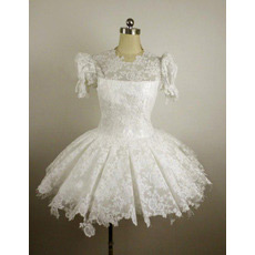 Custom Lace Bubble Sleeves A-Line Short Reception Wedding Dresses