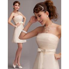 2018 A-Line Strapless Mini/ Short Petite Wedding Dresses for Summer