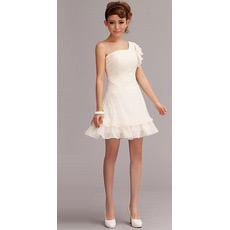 Affordable Custom One Shoulder Chiffon Short Beach Wedding Dresses