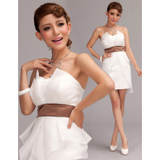 Custom Strapless Mini Satin Short Petite Wedding Dress with Belt