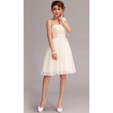Custom One Shoulder Chiffon Knee Length Short Beach Wedding Dresses