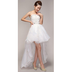 Asymmetric High-Low One Shoulder Organza Dresses for Spring Wedding