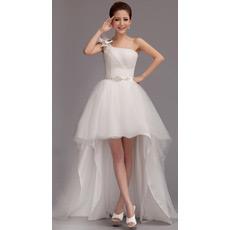 Custom Asymmetric High-Low One Shoulder Organza Wedding Dresses