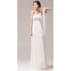 Sexy Informal One Shoulder Chiffon Empire Sweep Train Wedding Dresses