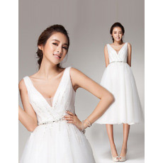 Custom V-Neck Knee Length Organza A-Line Short Reception Wedding Dresses