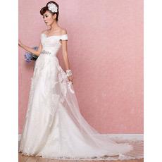 Inexpensive Off-the-shoulder Brush/ Sweep Train Satin Wedding Dresses