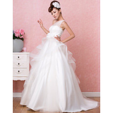 Chic Mordern One Shoulder A-Line Sweep Train Satin Wedding Dresses