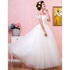Custom Off-the-shoulder Ball Gown Organza Floor Length Wedding Dresses