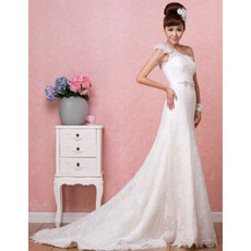 Affordable Sexy One Shoulder Lace A-Line Sweep Train Wedding Dresses