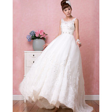 Vintage Classic A-Line Satin Scoop Brush/ Sweep Train Wedding Dresses