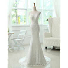 Mermaid/ Trumpet Lace V-Neck Brush Train Dresses for Spring Wedding
