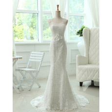 Vintage Mermaid/ Trumpet Lace Sleeveless Sweep Train Wedding Dresses