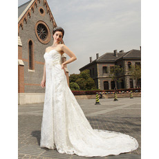 Vintage Lace Sweep Train Sweetheart A-Line Wedding Dresses for Spring