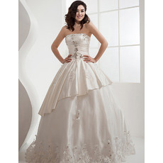 Custom Luxurious Ball Gown Strapless Satin Floor Length Wedding Dresses