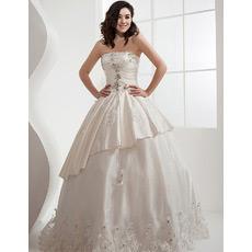 Custom Luxurious Ball Gown Strapless Satin Floor Length Wedding Dresses