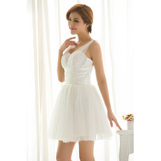 Discount Straps Organza A-Line Short Summer Beach Wedding Dresses