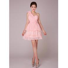 Discount One Shoulder Tiered Skirt Chiffon Short Bridesmaid Dresses