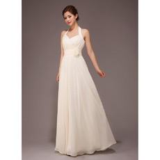 Halter Chiffon Floor Length A-Line Bridesmaid Dresses for Summer