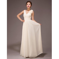 Custom Elegant V-Neck Chiffon Floor Length A-Line Bridesmaid Dresses