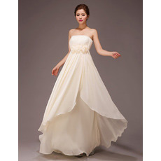 Inexpensive Strapless Empire Chiffon Floor Length Bridesmaid Dresses