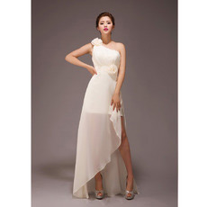 Elegant One Shoulder Asymmetric Chiffon Long Bridesmaid Dresses