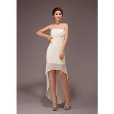 Custom Asymmetric High-Low Strapless Chiffon Bridesmaid Dresses