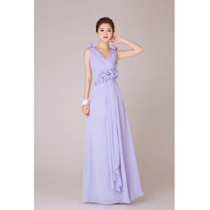 Affordable V-Neck Chiffon Floor Length A-Line Bridesmaid Dresses