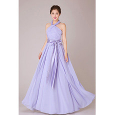 Sexy Formal Halter Chiffon A-Line Floor Length Bridesmaid Dresses