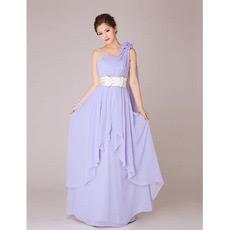 One Shoulder Chiffon Long Bridesmaid Dresses for Summer Wedding