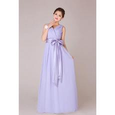 Custom V-Neck Chiffon Floor Length A-Line Bridesmaid Dresses